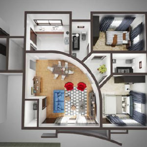 Cranbel Edge 2 Bedroom Floor Plan 300x300 Cranbel Edge 2 Bedroom Apartment  Lekki Ajah